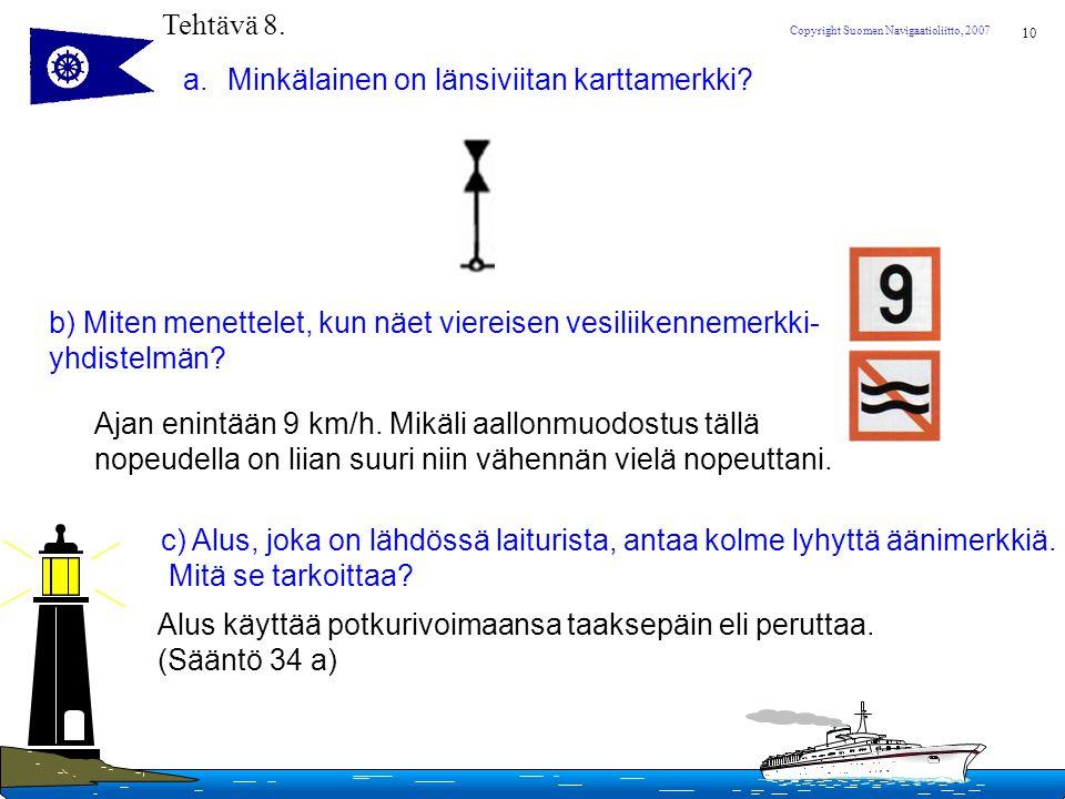 Tehtävä 8. Minkälainen on länsiviitan karttamerkki b) Miten menettelet, kun näet viereisen vesiliikennemerkki-