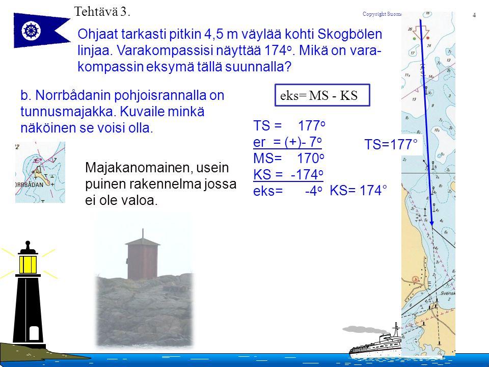 Tehtävä 3. Ohjaat tarkasti pitkin 4,5 m väylää kohti Skogbölen. linjaa. Varakompassisi näyttää 174o. Mikä on vara-