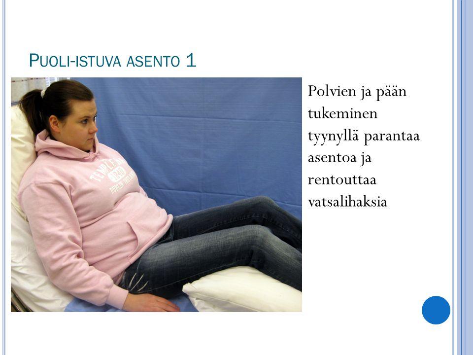 Puoli-istuva asento 1 Polvien ja pään tukeminen tyynyllä parantaa asentoa ja rentouttaa vatsalihaksia.
