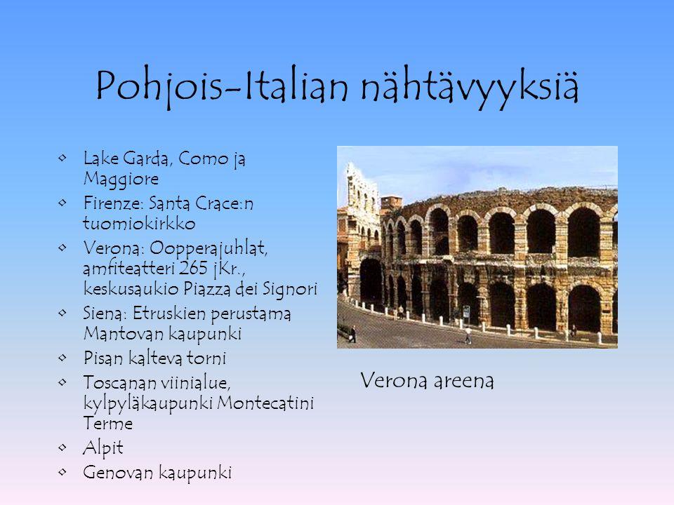 Pohjois-Italian nähtävyyksiä