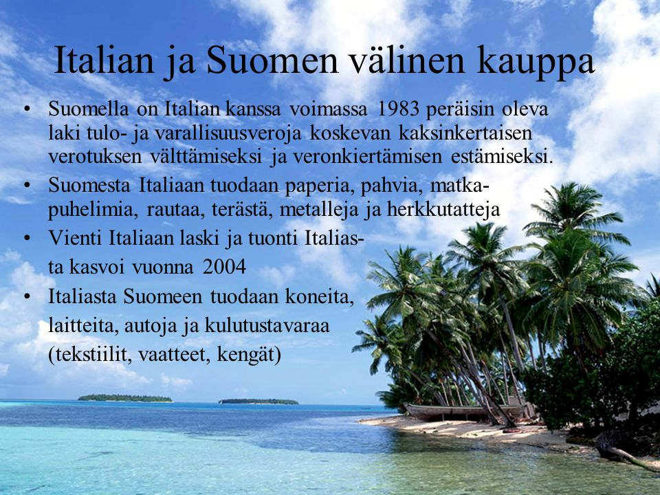 Italian ja Suomen välinen kauppa