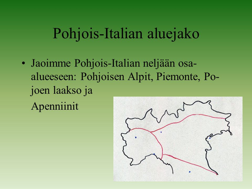 Pohjois-Italian aluejako