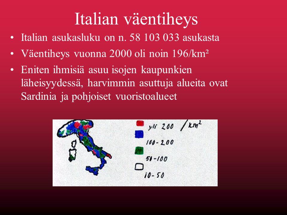 Italian väentiheys Italian asukasluku on n. 58 103 033 asukasta