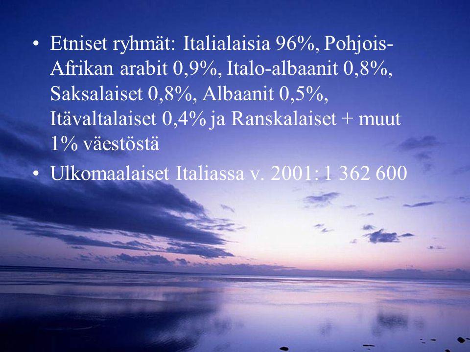 Etniset ryhmät: Italialaisia 96%, Pohjois-Afrikan arabit 0,9%, Italo-albaanit 0,8%, Saksalaiset 0,8%, Albaanit 0,5%, Itävaltalaiset 0,4% ja Ranskalaiset + muut 1% väestöstä