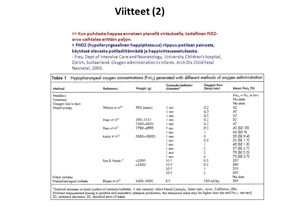 Viitteet (2) >> Kun puhdasta happea annetaan pienellä virtauksella, todellinen FiO2-arvo vaihtelee erittäin paljon.