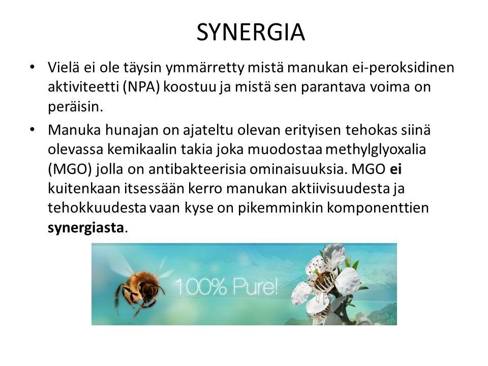 SYNERGIA Vielä ei ole täysin ymmärretty mistä manukan ei-peroksidinen aktiviteetti (NPA) koostuu ja mistä sen parantava voima on peräisin.