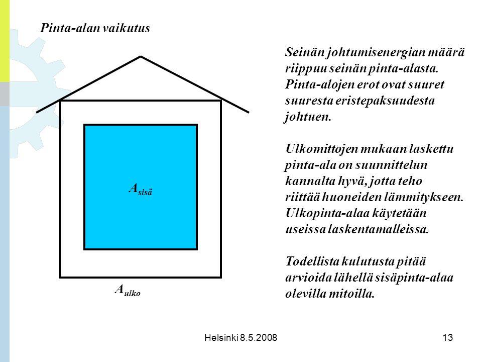 Seinän johtumisenergian määrä riippuu seinän pinta-alasta.