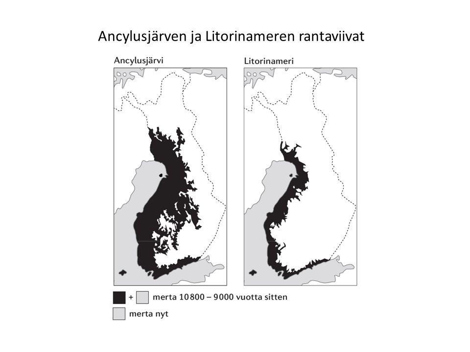 Ancylusjärven ja Litorinameren rantaviivat