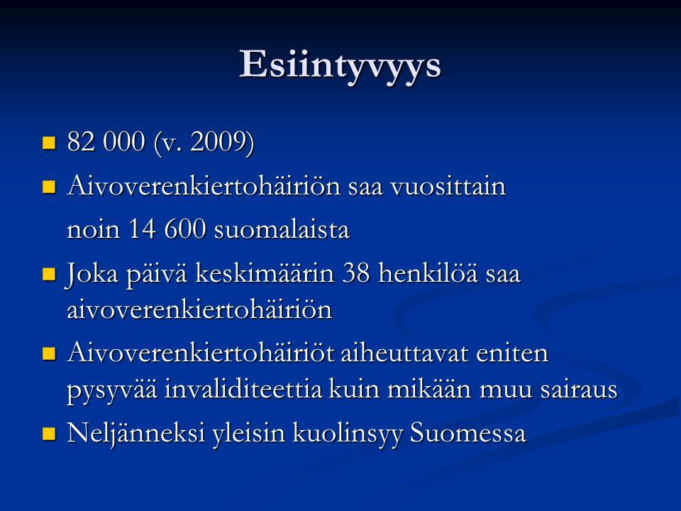 Esiintyvyys 82 000 (v. 2009) Aivoverenkiertohäiriön saa vuosittain