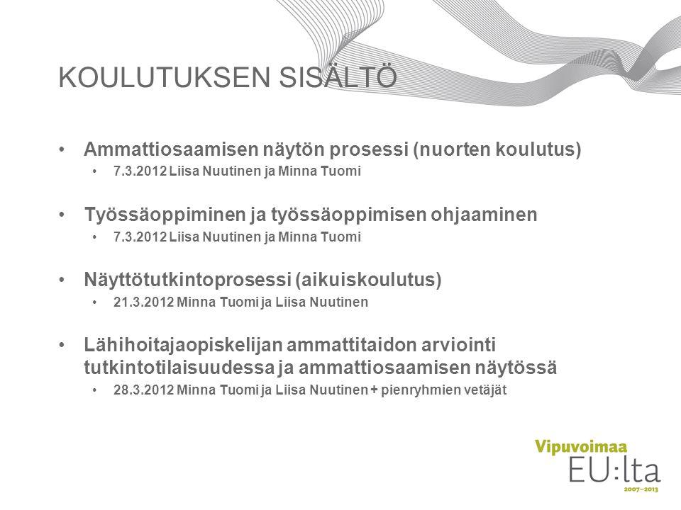 KOULUTUKSEN SISÄLTÖ Ammattiosaamisen näytön prosessi (nuorten koulutus) 7.3.2012 Liisa Nuutinen ja Minna Tuomi.