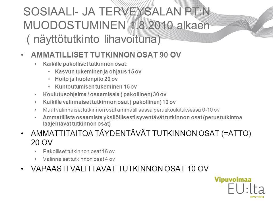 HYRIA SOSIAALI- JA TERVEYSALAN PT:N MUODOSTUMINEN 1.8.2010 alkaen ( näyttötutkinto lihavoituna) AMMATILLISET TUTKINNON OSAT 90 OV.