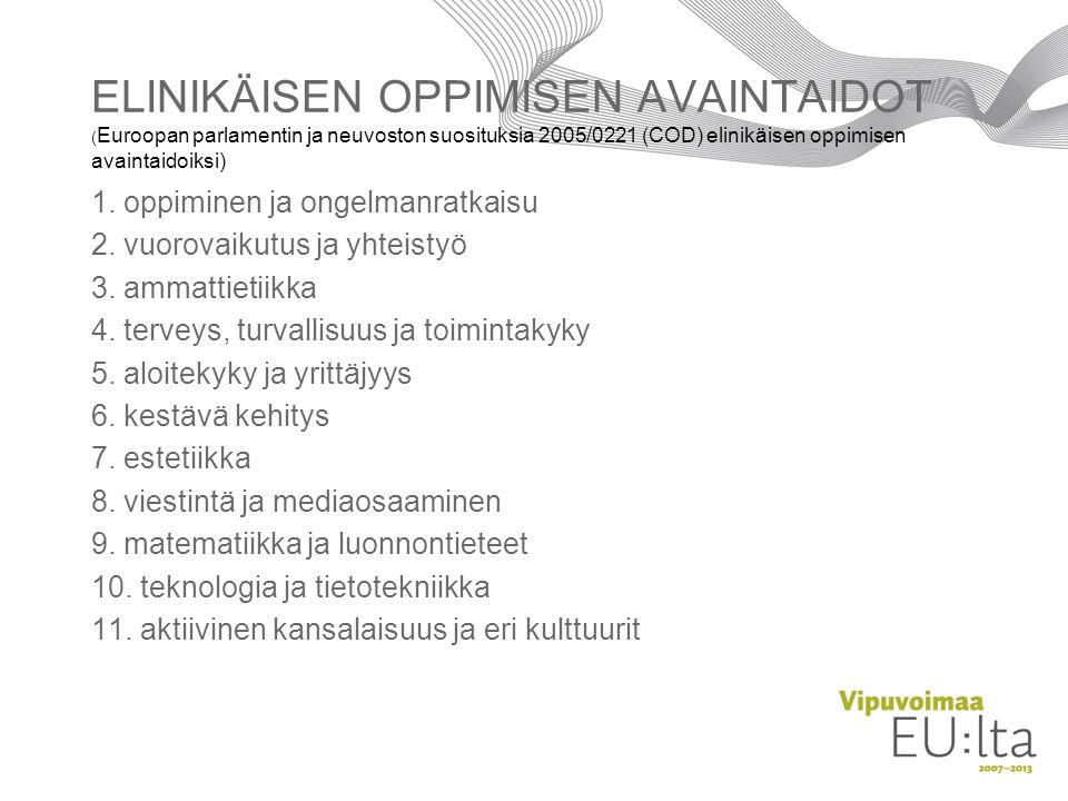 ELINIKÄISEN OPPIMISEN AVAINTAIDOT (Euroopan parlamentin ja neuvoston suosituksia 2005/0221 (COD) elinikäisen oppimisen avaintaidoiksi)