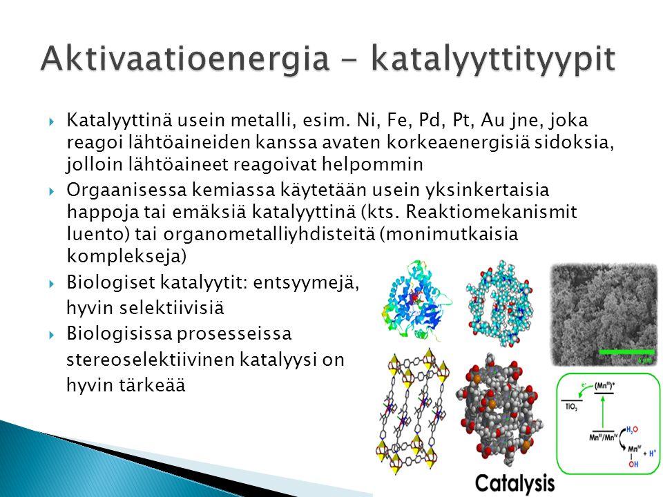 Aktivaatioenergia - katalyyttityypit