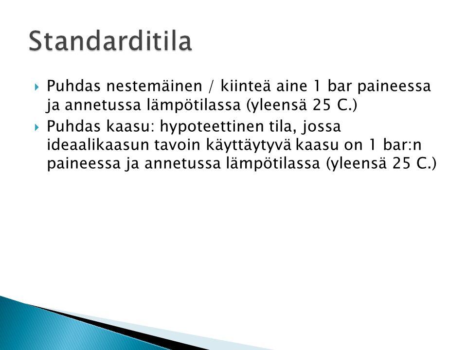 Standarditila Puhdas nestemäinen / kiinteä aine 1 bar paineessa ja annetussa lämpötilassa (yleensä 25 C.)