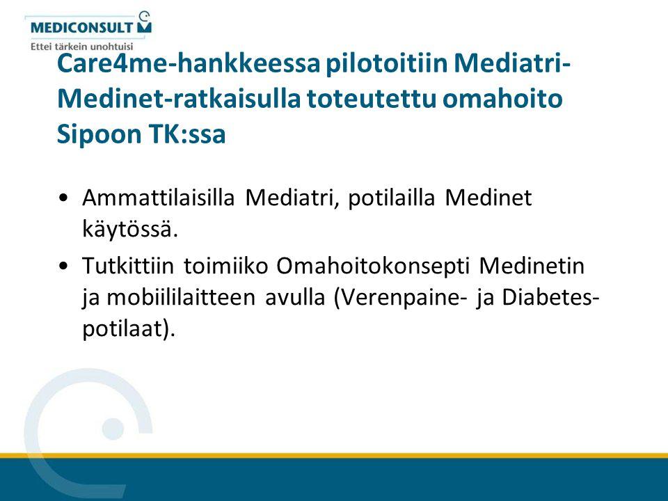 Care4me-hankkeessa pilotoitiin Mediatri-Medinet-ratkaisulla toteutettu omahoito Sipoon TK:ssa