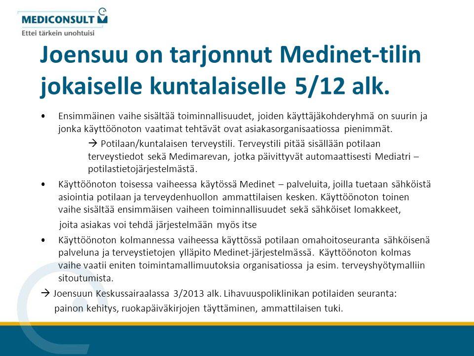 Joensuu on tarjonnut Medinet-tilin jokaiselle kuntalaiselle 5/12 alk.