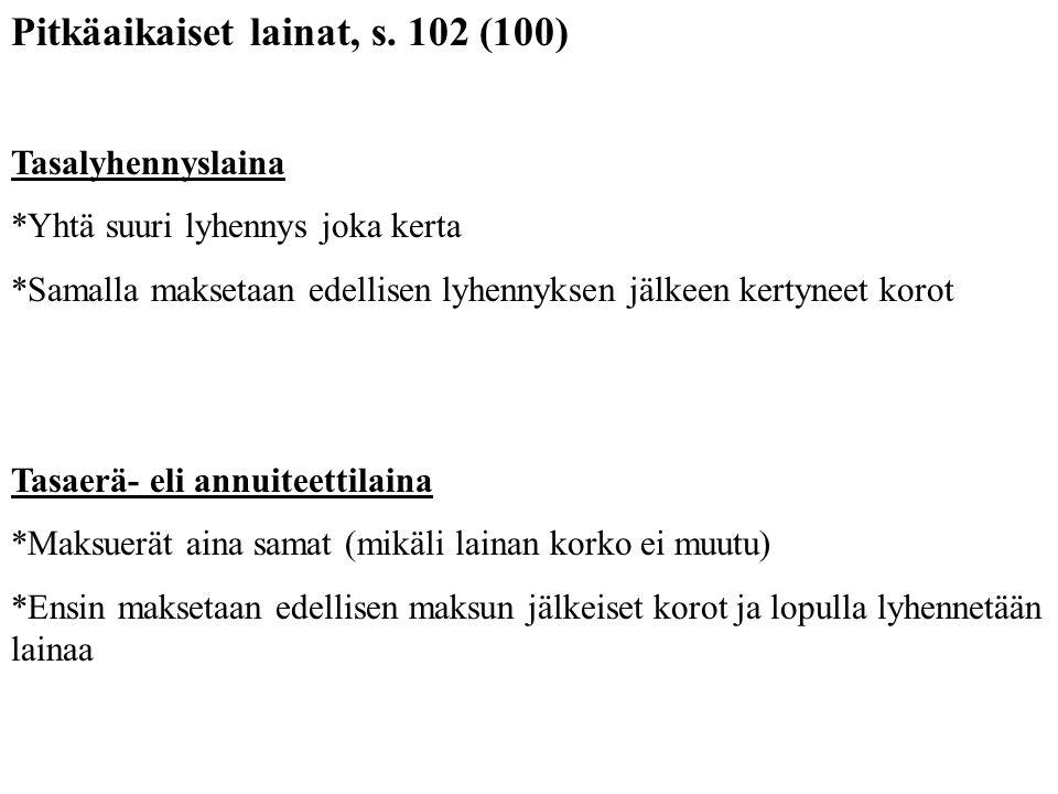 Pitkäaikaiset lainat, s. 102 (100)