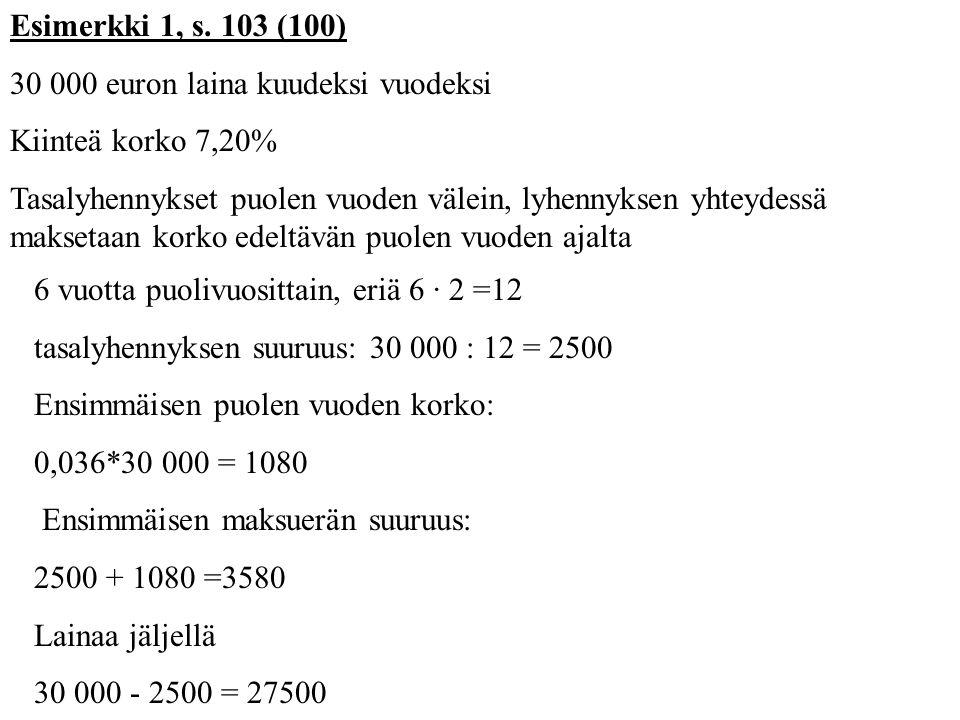 Esimerkki 1, s. 103 (100) 30 000 euron laina kuudeksi vuodeksi. Kiinteä korko 7,20%