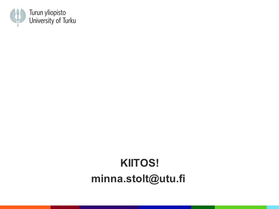 Kiitos! minna.stolt@utu.fi