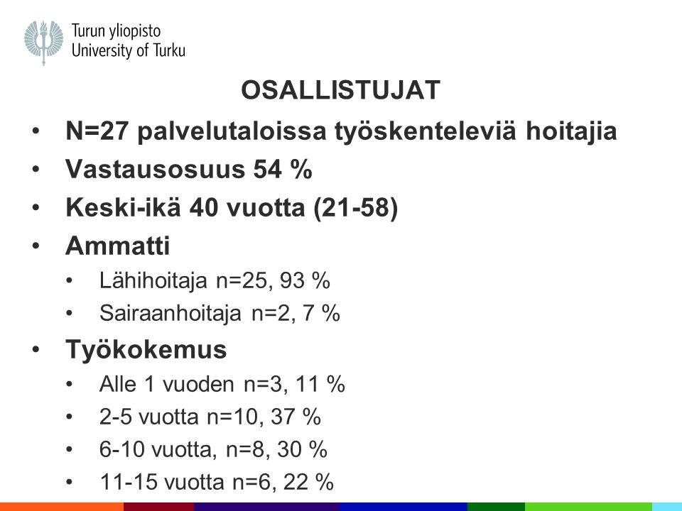 N=27 palvelutaloissa työskenteleviä hoitajia Vastausosuus 54 %