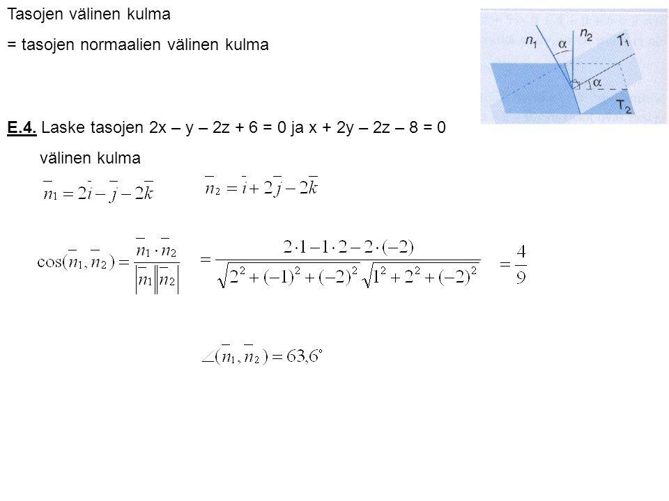 Tasojen välinen kulma = tasojen normaalien välinen kulma. E.4. Laske tasojen 2x – y – 2z + 6 = 0 ja x + 2y – 2z – 8 = 0.
