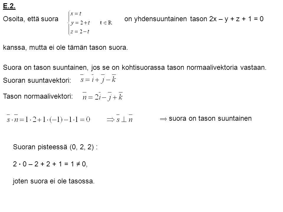 E.2. Osoita, että suora. on yhdensuuntainen tason 2x – y + z + 1 = 0. kanssa, mutta ei ole tämän tason suora.