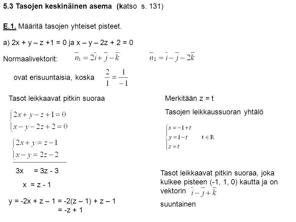 5.3 Tasojen keskinäinen asema (katso s. 131)