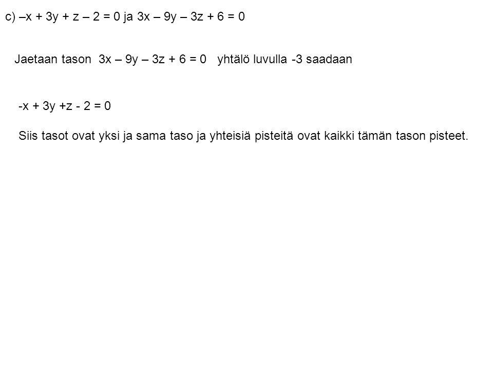 c) –x + 3y + z – 2 = 0 ja 3x – 9y – 3z + 6 = 0 Jaetaan tason 3x – 9y – 3z + 6 = 0 yhtälö luvulla -3 saadaan.