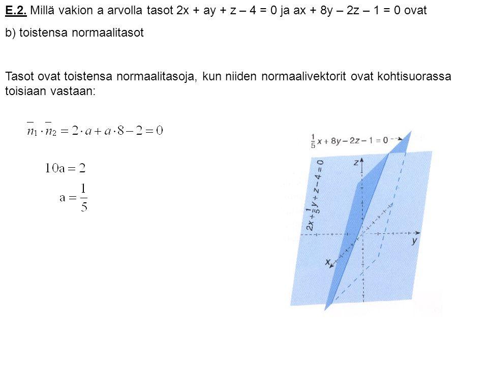 E.2. Millä vakion a arvolla tasot 2x + ay + z – 4 = 0 ja ax + 8y – 2z – 1 = 0 ovat