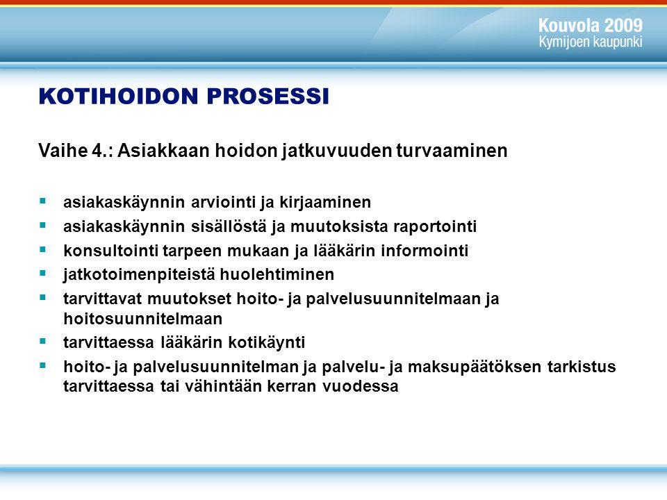 KOTIHOIDON PROSESSI Vaihe 4.: Asiakkaan hoidon jatkuvuuden turvaaminen