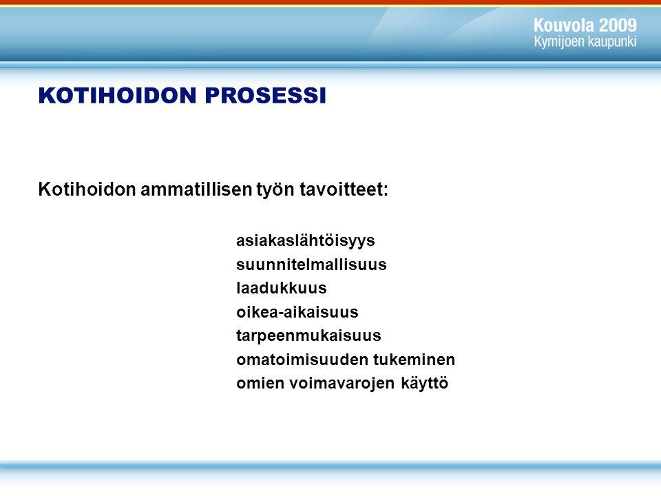 KOTIHOIDON PROSESSI Kotihoidon ammatillisen työn tavoitteet: