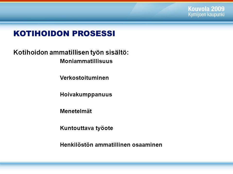 KOTIHOIDON PROSESSI Kotihoidon ammatillisen työn sisältö: