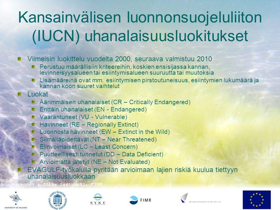 Kansainvälisen luonnonsuojeluliiton (IUCN) uhanalaisuusluokitukset