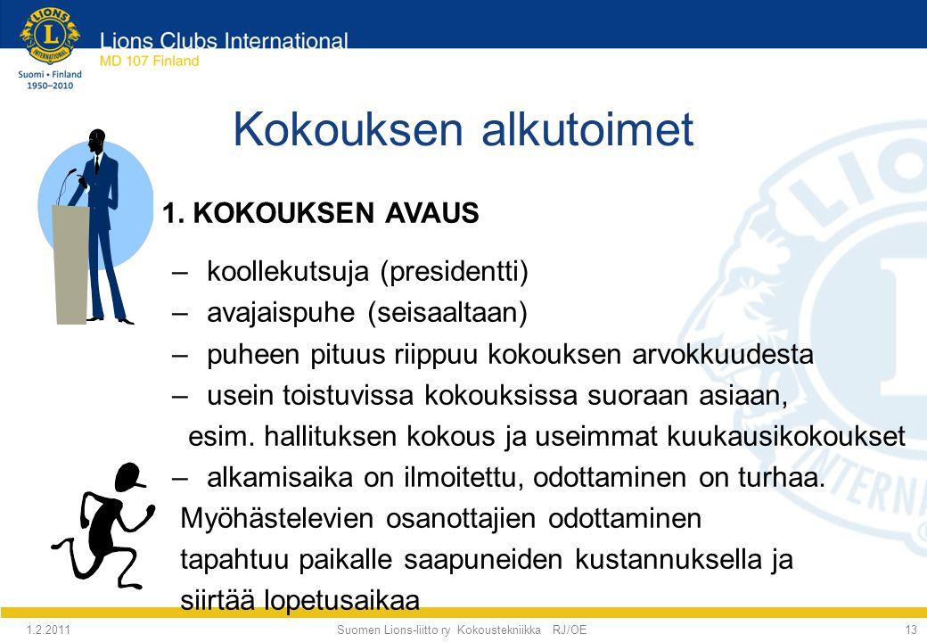 Suomen Lions-liitto ry Kokoustekniikka RJ/OE
