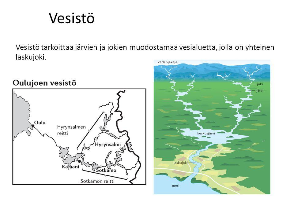 Vesistö Vesistö tarkoittaa järvien ja jokien muodostamaa vesialuetta, jolla on yhteinen laskujoki.