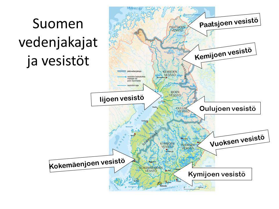 Suomen vedenjakajat ja vesistöt