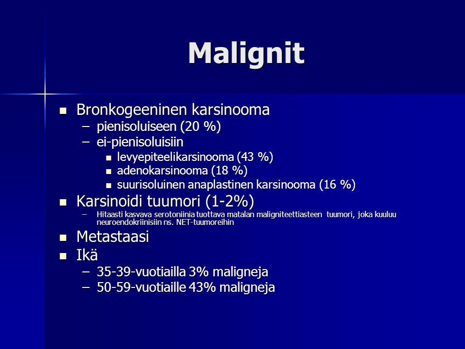 Malignit Bronkogeeninen karsinooma Karsinoidi tuumori (1-2%)