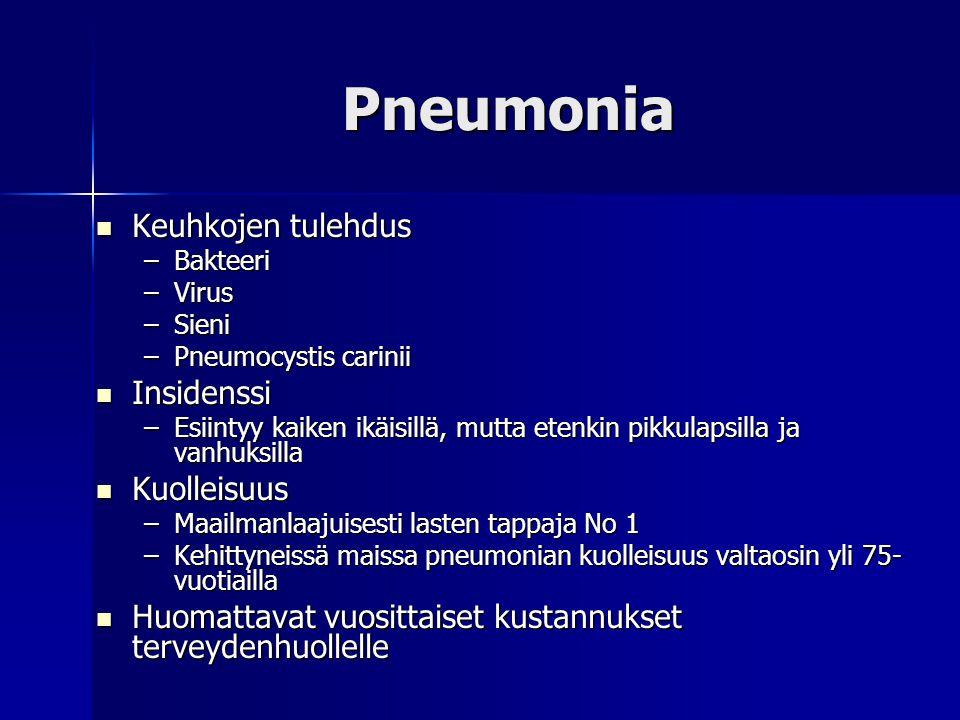 Pneumonia Keuhkojen tulehdus Insidenssi Kuolleisuus