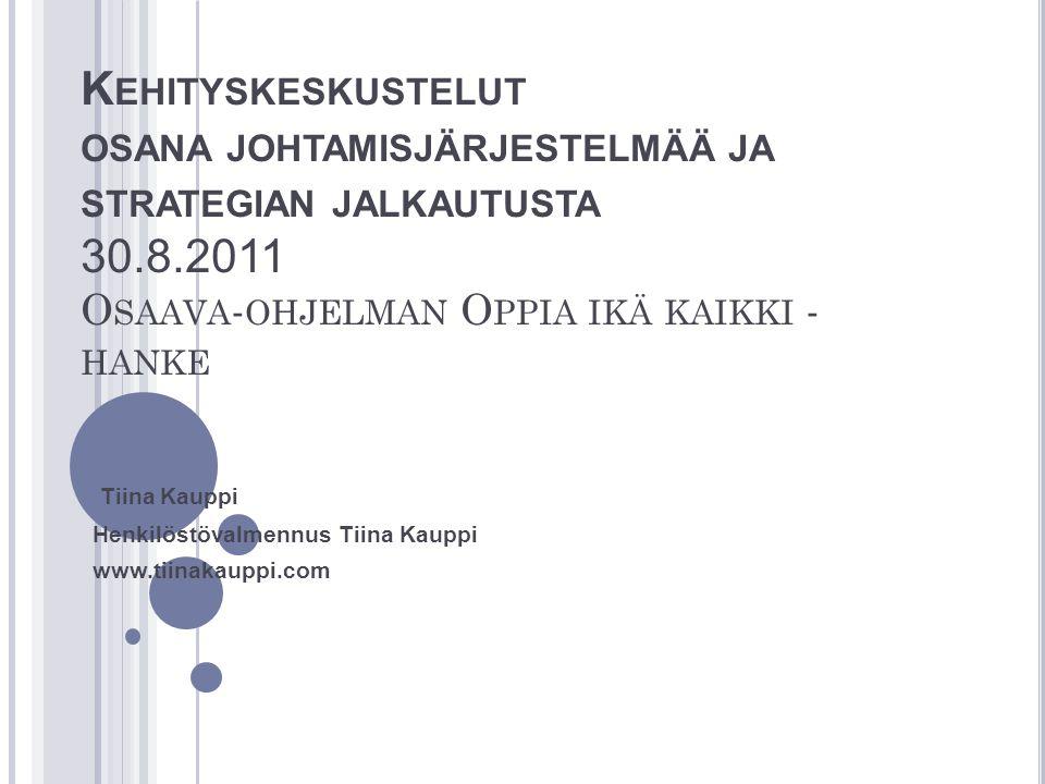 Tiina Kauppi Henkilöstövalmennus Tiina Kauppi www.tiinakauppi.com