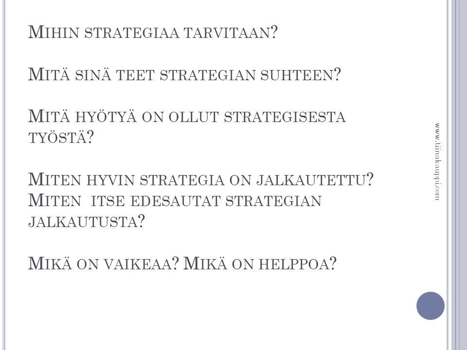 Mihin strategiaa tarvitaan. Mitä sinä teet strategian suhteen