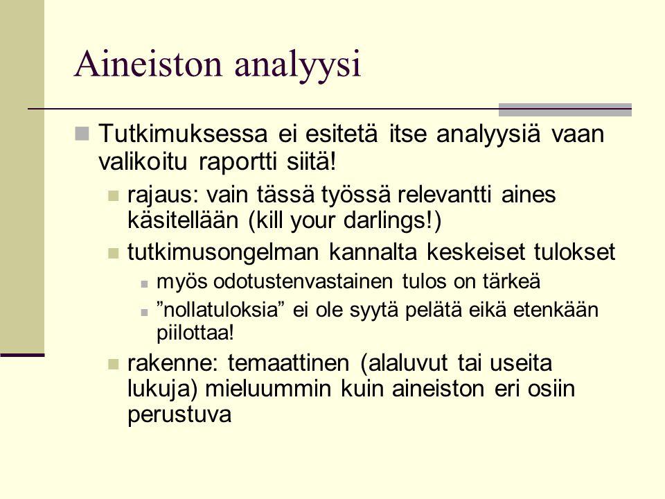 Aineiston analyysi Tutkimuksessa ei esitetä itse analyysiä vaan valikoitu raportti siitä!