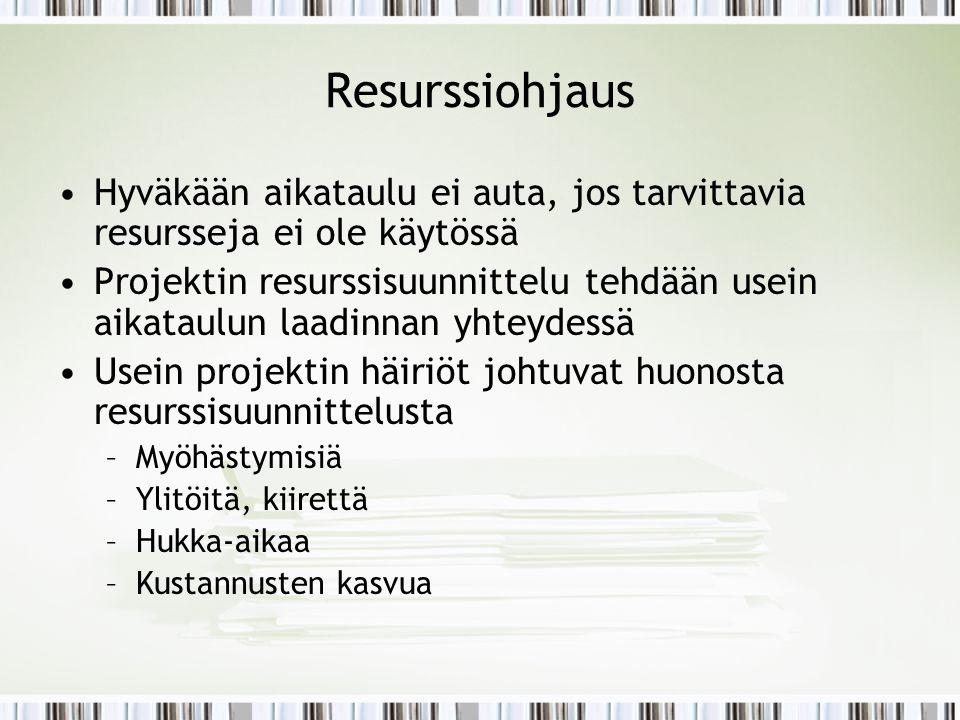 Resurssiohjaus Hyväkään aikataulu ei auta, jos tarvittavia resursseja ei ole käytössä.