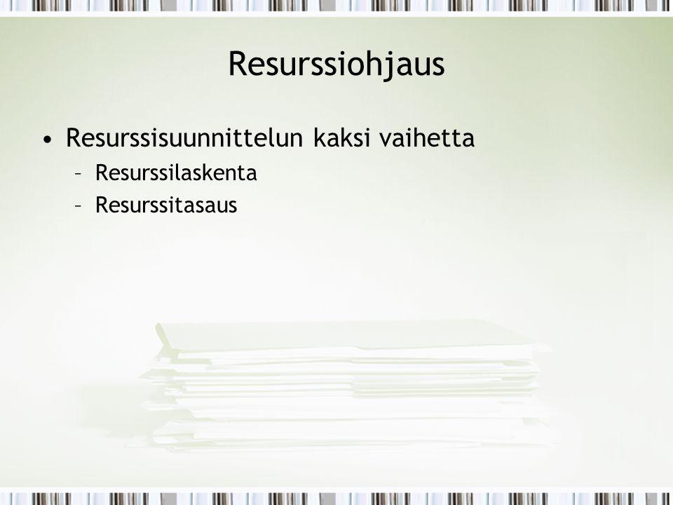 Resurssiohjaus Resurssisuunnittelun kaksi vaihetta Resurssilaskenta