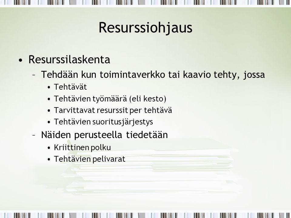 Resurssiohjaus Resurssilaskenta