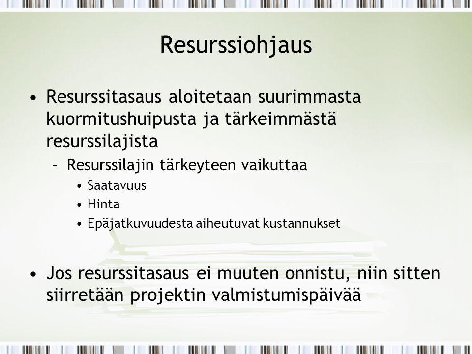 Resurssiohjaus Resurssitasaus aloitetaan suurimmasta kuormitushuipusta ja tärkeimmästä resurssilajista.