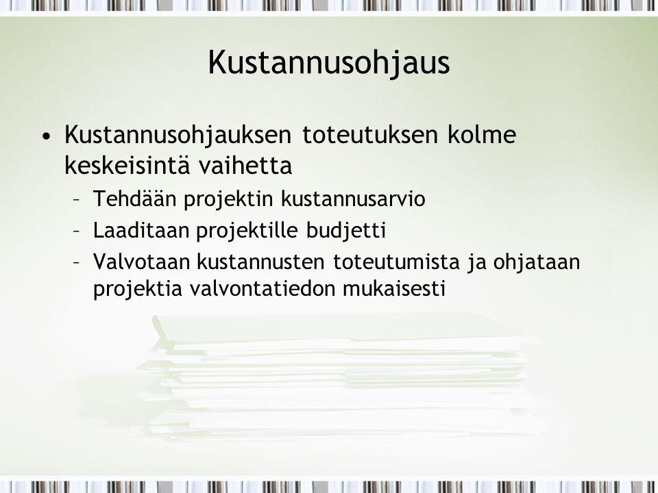 Kustannusohjaus Kustannusohjauksen toteutuksen kolme keskeisintä vaihetta. Tehdään projektin kustannusarvio.