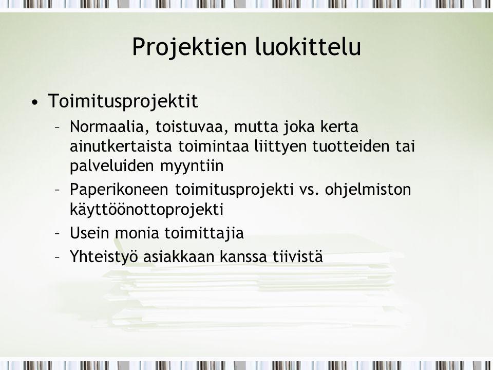 Projektien luokittelu