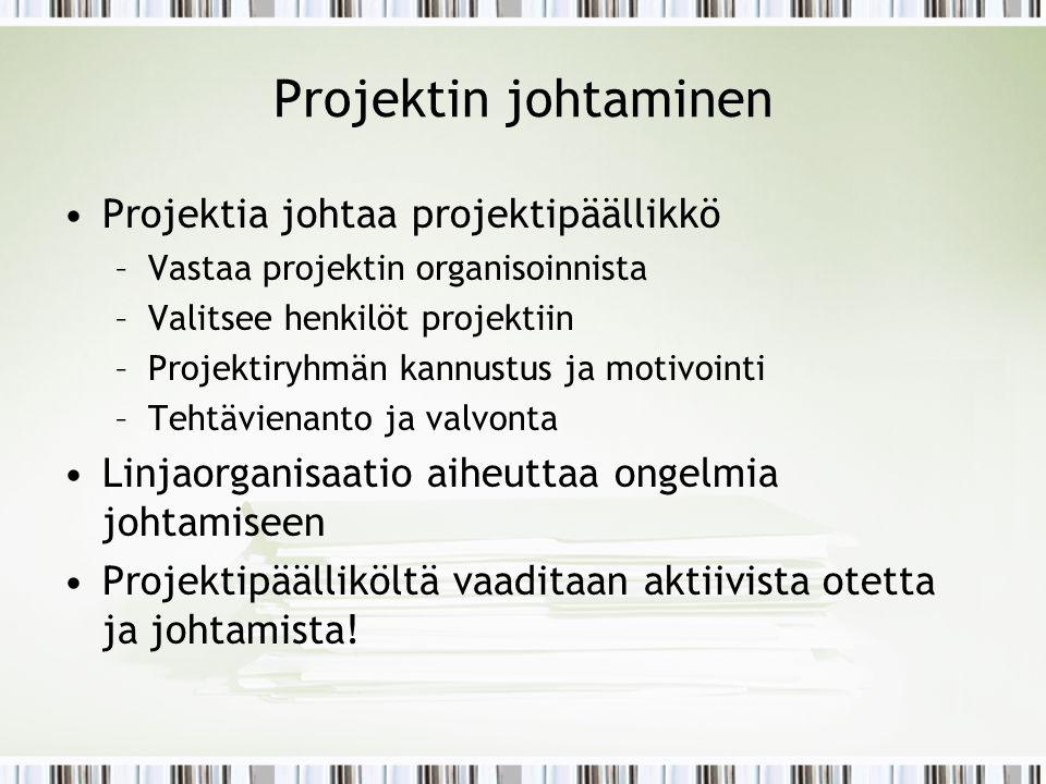 Projektin johtaminen Projektia johtaa projektipäällikkö