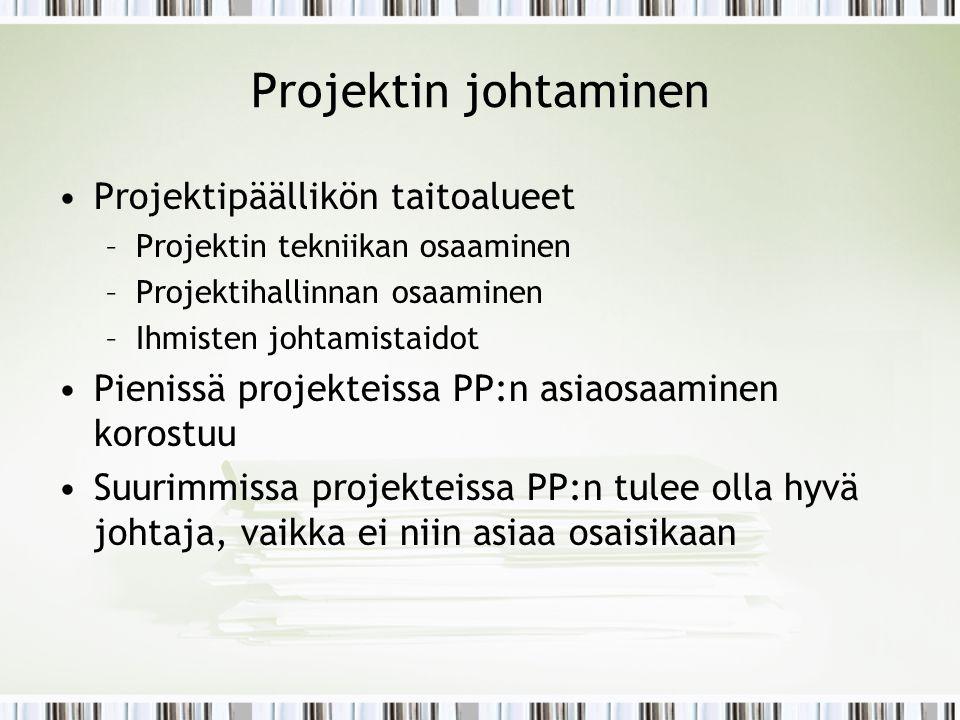 Projektin johtaminen Projektipäällikön taitoalueet