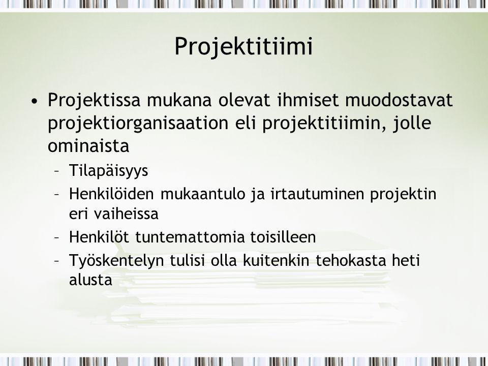 Projektitiimi Projektissa mukana olevat ihmiset muodostavat projektiorganisaation eli projektitiimin, jolle ominaista.